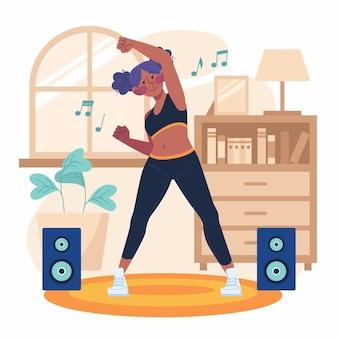 집에서 춤추는 젊은 여자 휘트니스