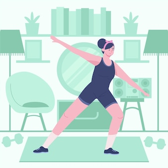Dancing di forma fisica della giovane donna a casa illustrato