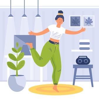 Dancing di forma fisica della giovane donna a casa