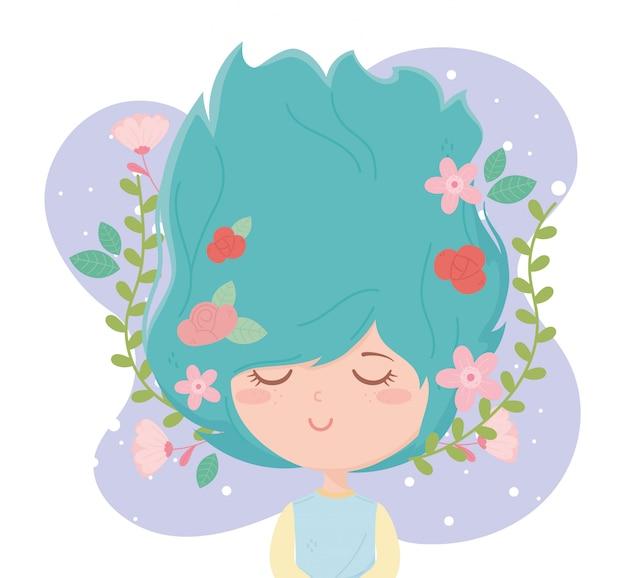 Молодая женщина цветы в волосы украшения фиолетовый мультфильм