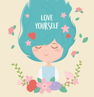 Young woman flowers love lettering decoration cartoon