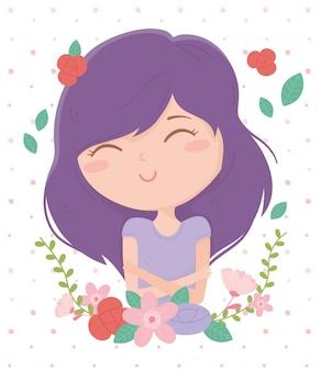 Молодая женщина сложа руки фиолетовые волосы цветы мультфильм