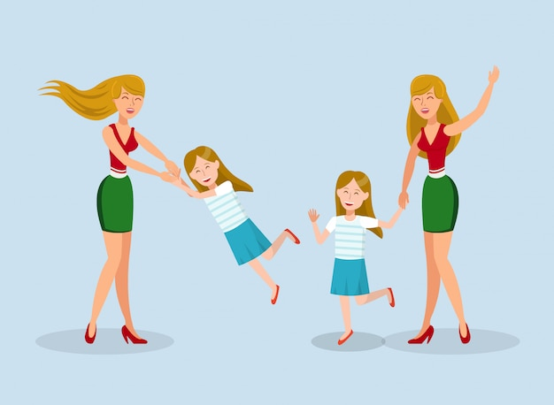 Young woman fooling around with child illustration