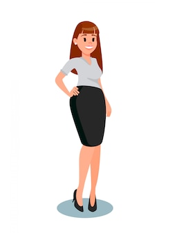 Young woman in formal clothes vector illustration