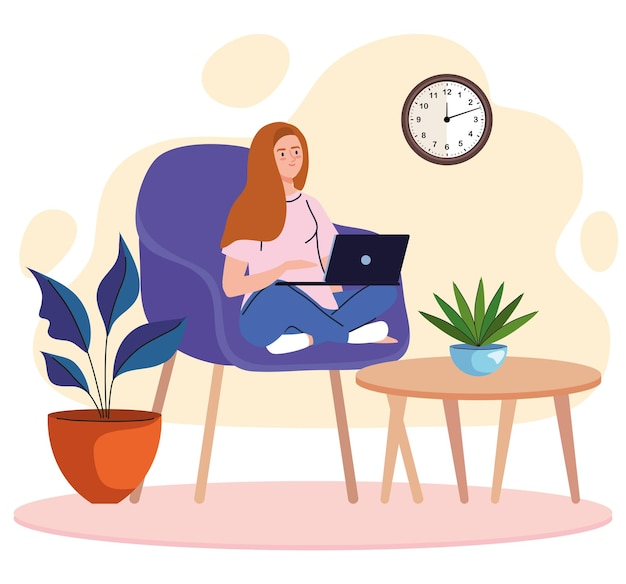 Young woman freelancer worker seated in sofa with laptop character