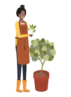 Young woman gardener avatar character