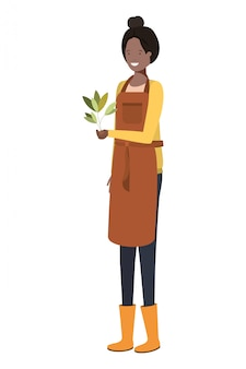 Young woman gardener with plant avatar character