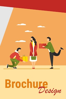Young woman getting gifts from adorers. presents, admirers, rivals in love flat vector illustration. giving gifts, dating, relationship concept