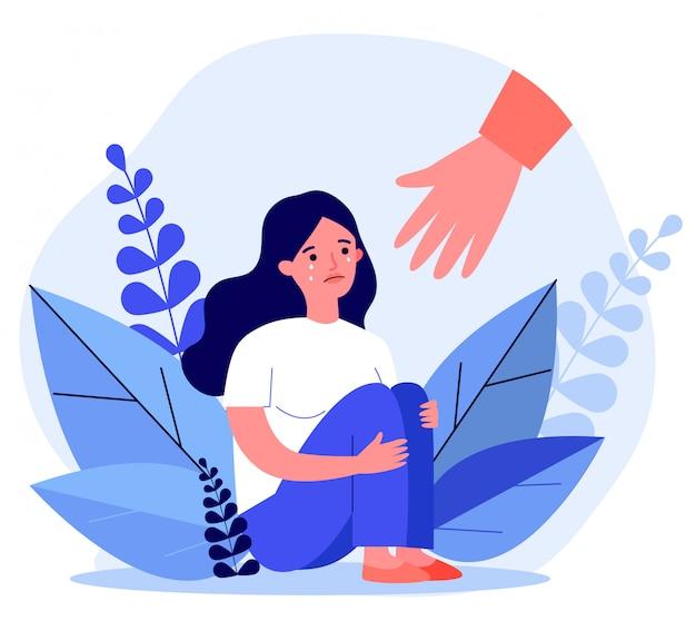 若い女性が助けを得てストレスから治る