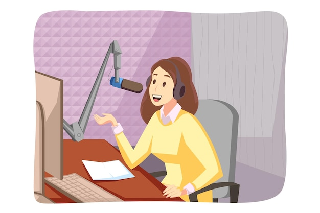Young woman girl blogger radio host cartoon character sits at studio speaking in microphone