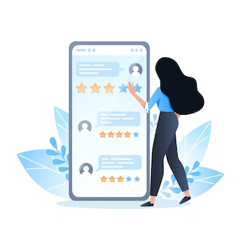 Young woman giving feedback using the mobile app, online reviews of people on the smartphone screen