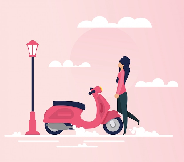 Young woman going on moped trip flat