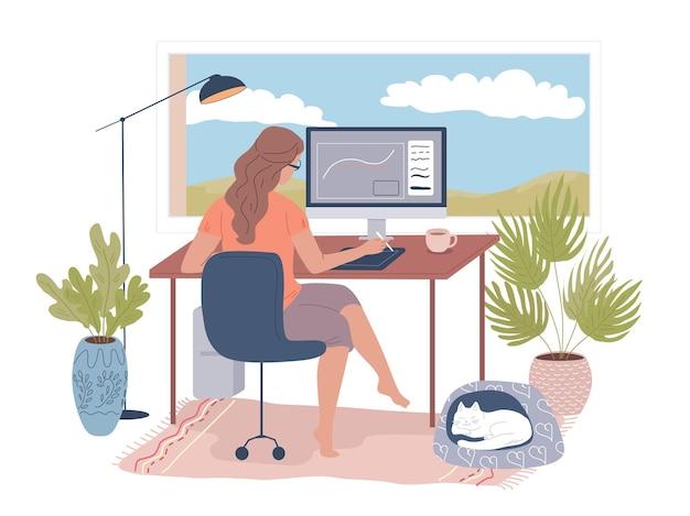 젊은 여성 그래픽 디자이너는 홈 오피스에서 일합니다