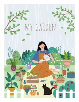 젊은 여자 집 정원에서 묘 목을 성장