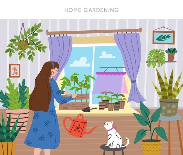 若い女性が自宅の窓に苗を育てる