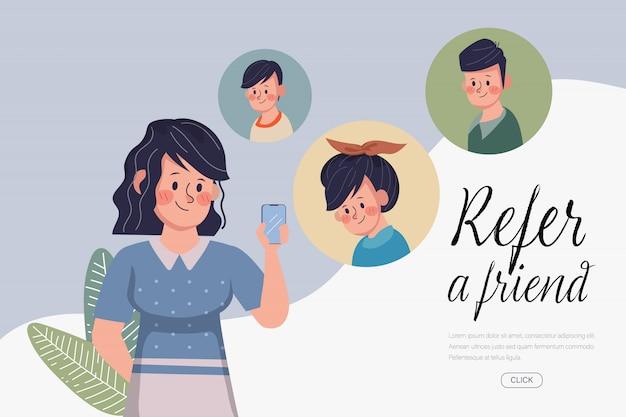 Молодая женщина пригласила друга с смартфон. веб-целевая страница относится к другу концепции. нарисованный рукой дизайн вектора шаржа.