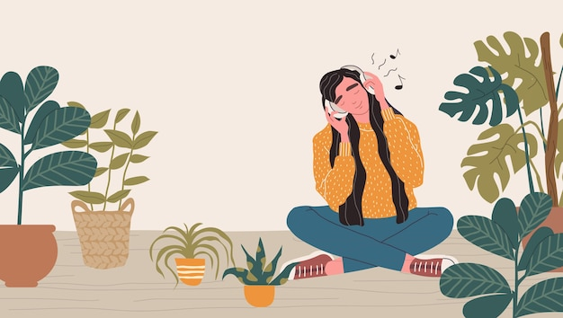 Young woman in headphones listening to music. relaxed woman with eyes closed enjoying music. cartoon illustration.