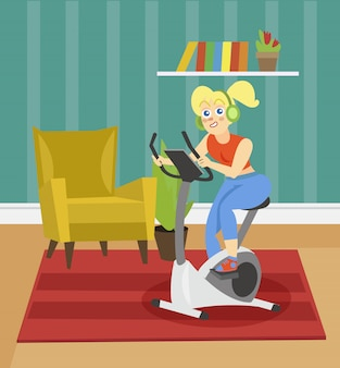 Young woman in headphones training on an exercise bike on the background of living room apartment  illustration, cartoon style