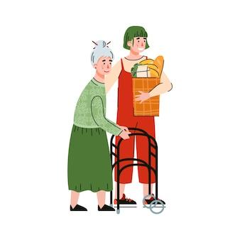 孤立した年配の女性フラットイラストを助ける若い女性。
