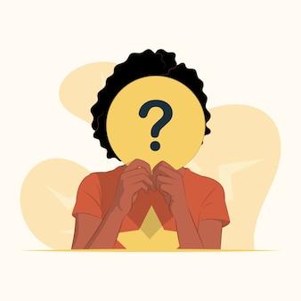 疑問符のシンボルの概念で円紙の後ろに顔を隠す若い女性