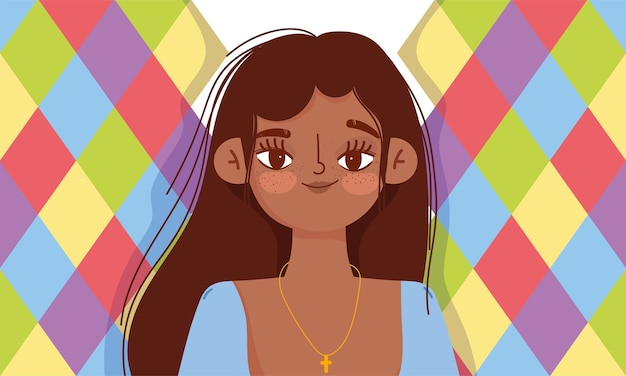 Young woman hispanic character cartoon portrait icon vector design and illustration