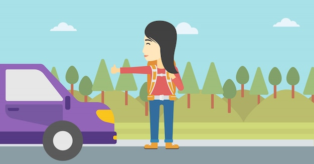 Young woman hitchhiking vector illustration.