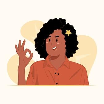 若い女性が指を持って大丈夫合意の概念を表すシンボル