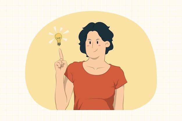 Молодая женщина держит указательный палец с отличной новой идеей