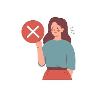 若い女性は拒否マークの付いた円を保持します。概念はありません。図。