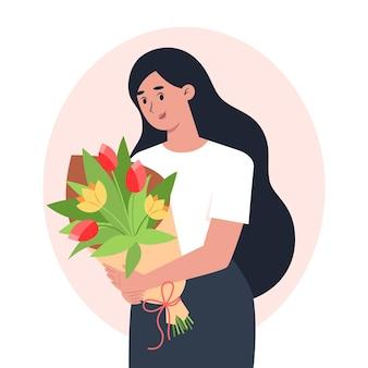 꽃의 꽃다발을 들고 젊은 여자, 여성을위한 축하