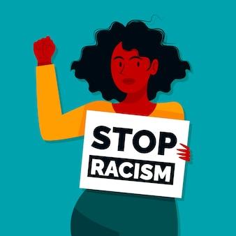 Молодая женщина держит плакат с сообщением остановить расизм