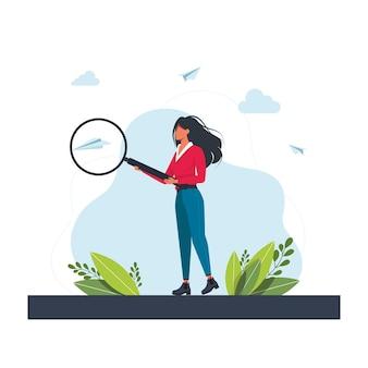 大きな拡大鏡のガラスで保持し、分析する若い女性。巨大なルーペを持つ少女。虫眼鏡を通して見ている実業家。新しいアイデアを検索しています。ベクトル漫画イラスト。情報の検索