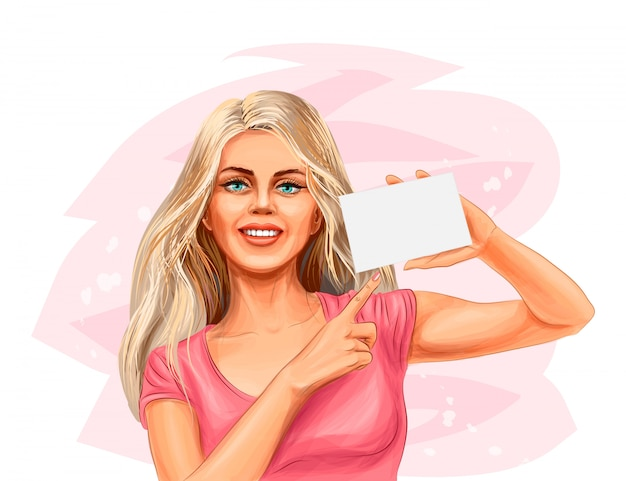 Young woman holding blank card. vector realistic illustration of paints