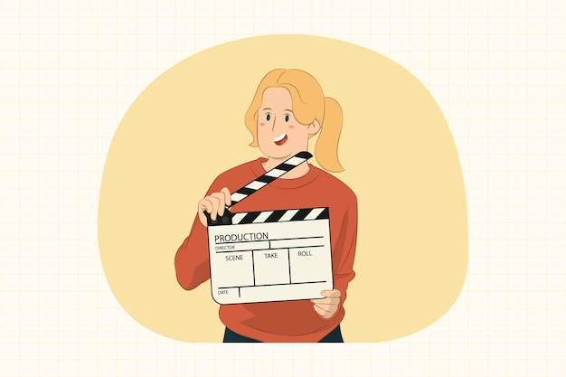 Young woman holding classic black film making clapperboard concept