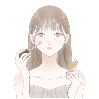 Young woman holding concealer in one hand.