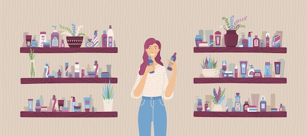 Young woman holding cosmetic bottles in her hands in store vector cartoon illustration