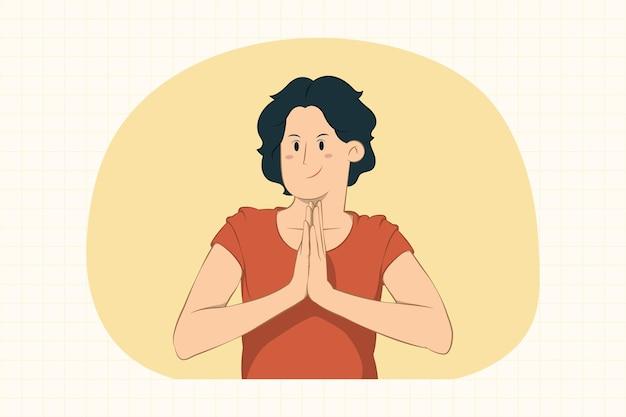 Молодая женщина, держащая руки, сложенные в молитве
