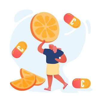 거 대 한 오렌지 또는 레몬 슬라이스를 들고 젊은 여자.