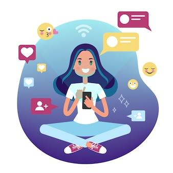 Молодая женщина, держащая мобильный телефон и чат