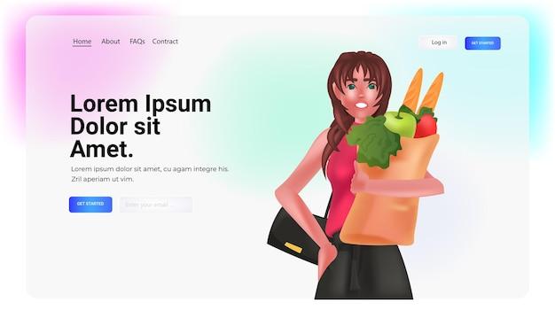 野菜でいっぱいの買い物袋を保持している若い女性の肖像画水平コピースペースベクトル図
