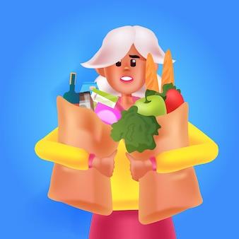野菜の肖像画ベクトルイラストでいっぱいの買い物袋を保持している若い女性