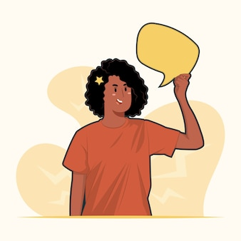 Young woman holding up speech bubble icons concept