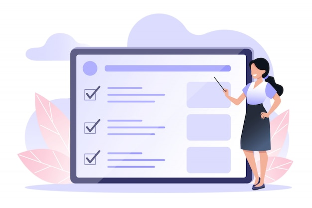 A young woman holds a pointer in her hands giving a presentation on the screen. online training, time management. vector illustration