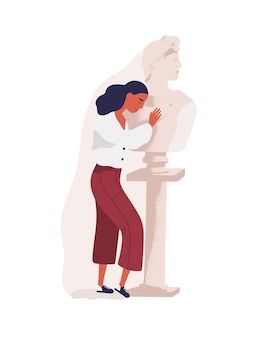 Young woman hugging statue of man. concept of idealization of emotionally distant partner, unrequited or one-sided love, blind affection or fondness. colored vector illustration in flat cartoon style.