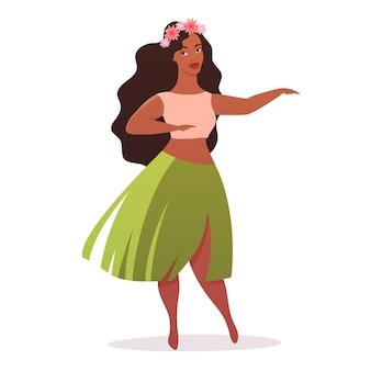 하와이 전통 치마를 입은 젊은 여성 훌라 댄서와 머리에 꽃 화환
