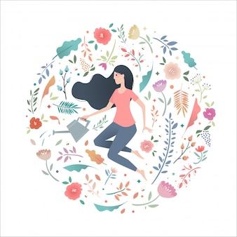 庭のじょうろで花の輪の若い女性。
