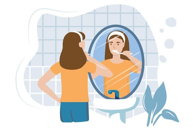 Молодая женщина в ванной, чистящая зубы с отражением зубной щетки в зеркале векторная иллюстрация