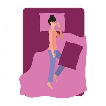 침대 아바타 캐릭터에 젊은 여자