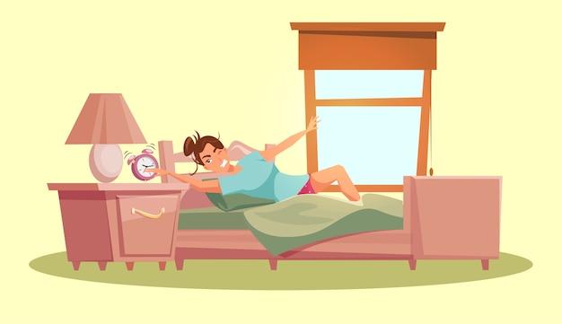Молодая женщина в спальне вставая утром
