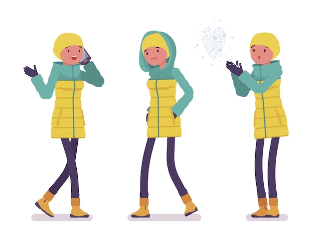 屋外を歩く明るいダウンジャケットの若い女性